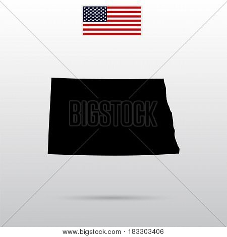 Map of the U.S. state of North Dakota. American flag