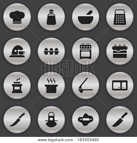Set Of 16 Editable Food Icons. Includes Symbols Such As Cup, Stove, Crusher And More. Can Be Used For Web, Mobile, UI And Infographic Design.
