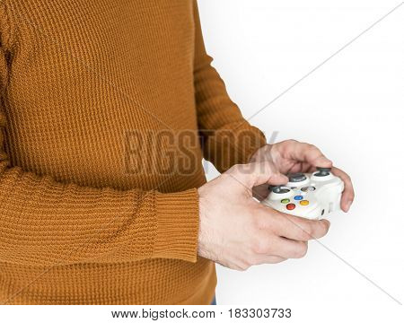 Human Hands Holding Game Controller Leisure Activity