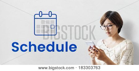 Woman planning with illustration of personal organizer calendar