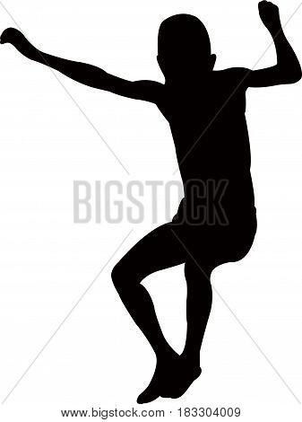 jumping boy body silhouette vector art work