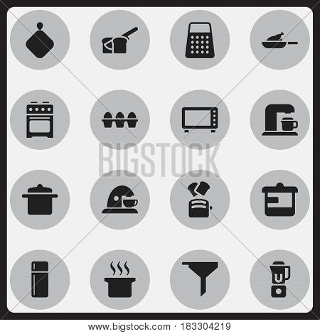 Set Of 16 Editable Food Icons. Includes Symbols Such As Refrigerator, Utensil, Drink Maker And More. Can Be Used For Web, Mobile, UI And Infographic Design.