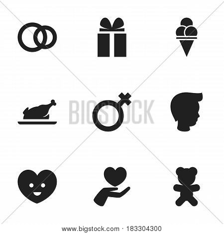 Set Of 9 Editable Kin Icons. Includes Symbols Such As Gift, Toy, Cold Dessert And More. Can Be Used For Web, Mobile, UI And Infographic Design.