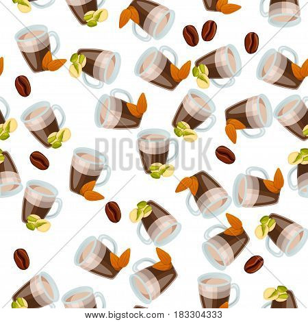 Very high quality original trendy vector seamless pattern with pistachio and almonds hot chocolate cup