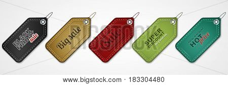 Set of vector sale price tags or labels for your business presentation.
