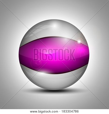 Vector illustration of the transparent glass ball with the purple line.