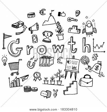 Hand Draw Business Doodles With Varieties Of Business Icons And Words Set On White Background.concep