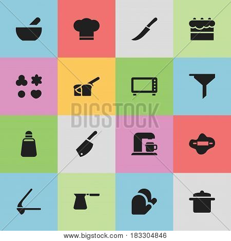 Set Of 16 Editable Cook Icons. Includes Symbols Such As Cook Cap, Oven, Soup And More. Can Be Used For Web, Mobile, UI And Infographic Design.