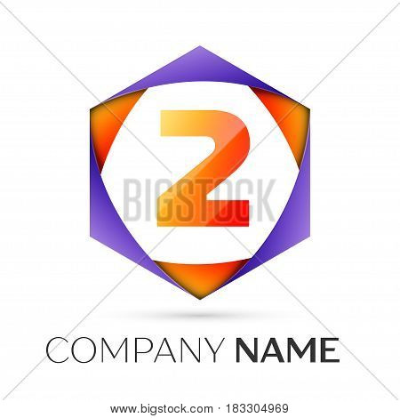 Number two vector logo symbol in the colorful hexagonal on grey background. Vector template for your design