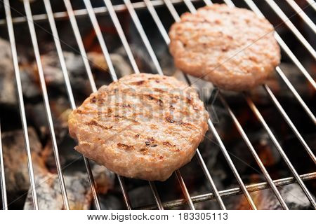 Minced Pork On Grill With Dancing Flames Cooked