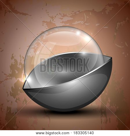 Clear half-gray colored transparent glass sphere. Vector illustration.