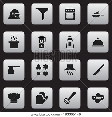 Set Of 16 Editable Meal Icons. Includes Symbols Such As Coffee Pot, Husker, Salver And More. Can Be Used For Web, Mobile, UI And Infographic Design.