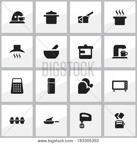 Set Of 16 Editable Cooking Icons. Includes Symbols Such As Agitator, Grill, Oven And More. Can Be Used For Web, Mobile, UI And Infographic Design.