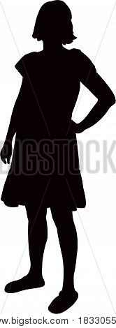a standing woman body silhouette vector artwork