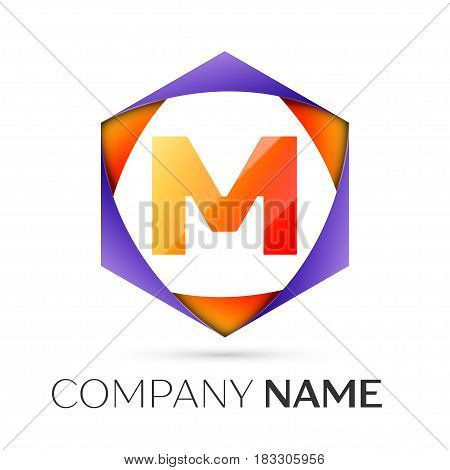 Letter M vector logo symbol in the colorful hexagonal on grey background. Vector template for your design