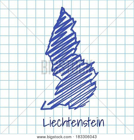 Map Of Liechtenstein, Blue Sketch Abstract Background
