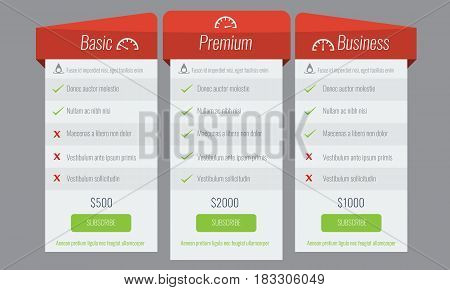 Trendy price list and offer columns. Flat vector for your design