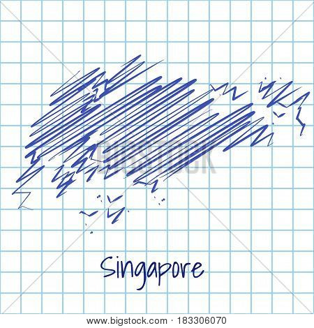 Map Of Singapore, Blue Sketch Abstract Background