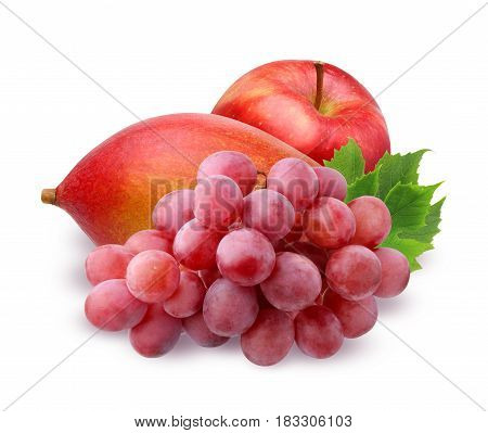 ripe mango Apple and brush of red grapes with water drops with leaves isolated on white background. fruit berries food.