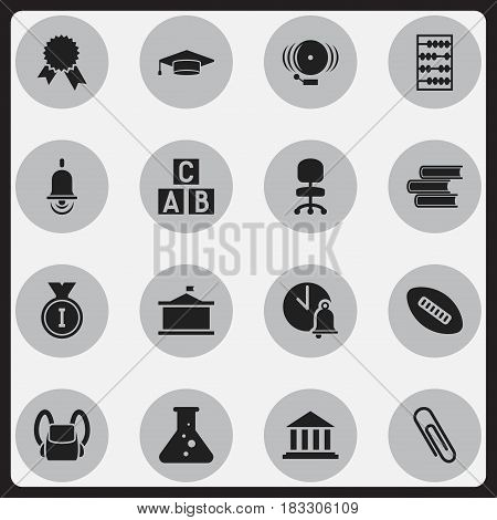 Set Of 16 Editable University Icons. Includes Symbols Such As First Place, Library, Work Seat And More. Can Be Used For Web, Mobile, UI And Infographic Design.