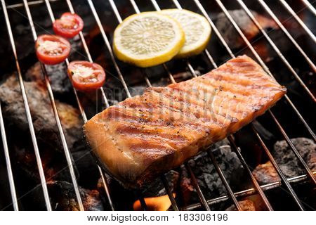Grilled Salmon With Lemon On The Flaming