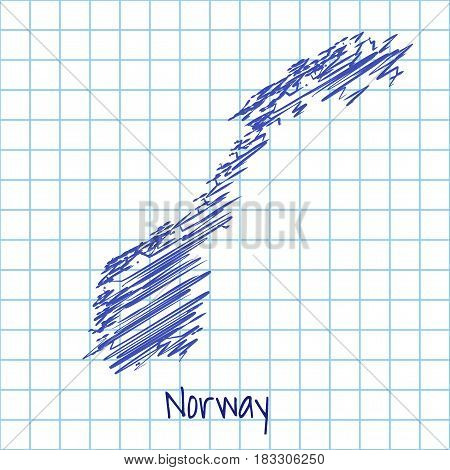 Map Of Norway, Blue Sketch Abstract Background