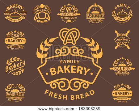 Bakery gold badges and logo icon thin modern style vector collection retro label logo design elements isolated. Classic old graphic hight quality pastry wheat traditional food sticker.