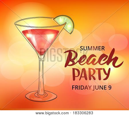 Summer beach party poster template. Typographic elements, brush lettering and hand drawn cocktail in martini glass. EPS10 vector illustration.