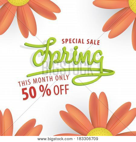 Spring Sale Green And Orange Flower 50 Percent Off Heading Design For Banner Or Poster. Sale And Dis