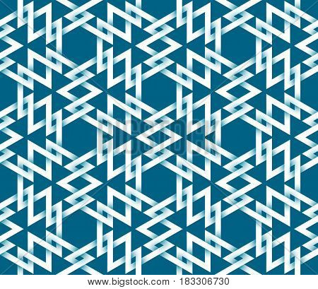 Abstract repeatable pattern background of white twisted strips on blue. Swatch of intertwined triangles and hexagons.