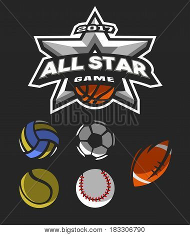 All star game logo emblem for basketball, volleyball, football, tennis, basketball.