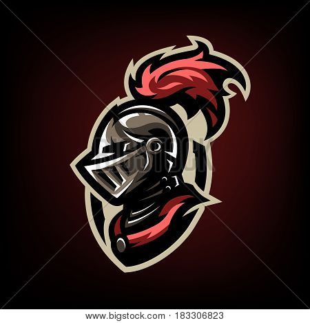 Medieval warrior knight in helmet. Logo emblem symbol