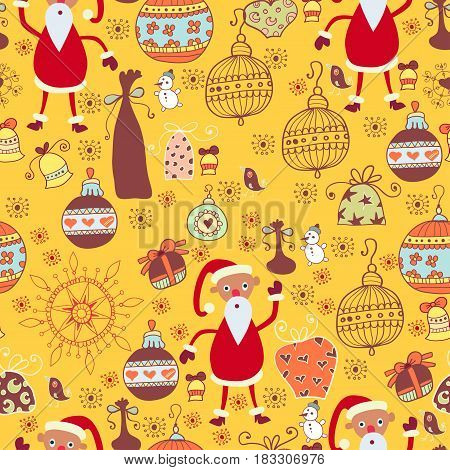 Christmas bright seamless pattern. Winter doodle background