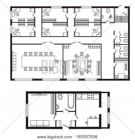 Modern Office Architectural Plan Interior Furniture And Construction Design  Drawing Project Architect Engineering Sketch House Vector