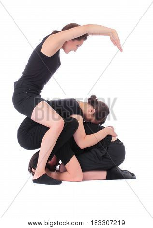 Black dressed people forming number six on white background