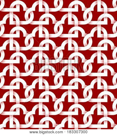 Abstract repeatable pattern background of white twisted strips on red. Swatch of intertwined hearts.