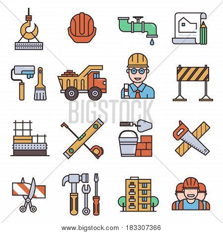 Under construction outline icons set engineering building architecture equipment graphic tool vector illustration. Modern measure factory industrial development industry technology.