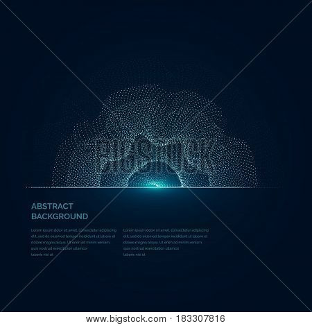 Modern vector illustration with a deformed circle shape of the particles of blue color on a dark background. Good as a template for your design