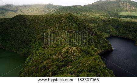 Aerial view to Comprida and Negra lakes , Flores island in Azores. Portugal