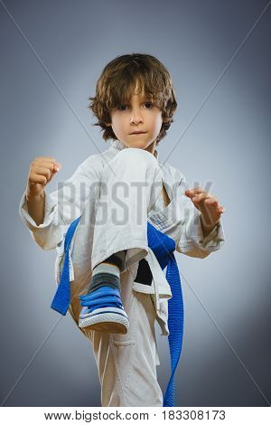 Karate boy in kimono fighting isolated on gray background.