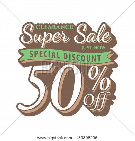 Vol. 2 Super Sale 50 Percent Heading Design Vintage Style  For Banner Or Poster. Sale And Discounts