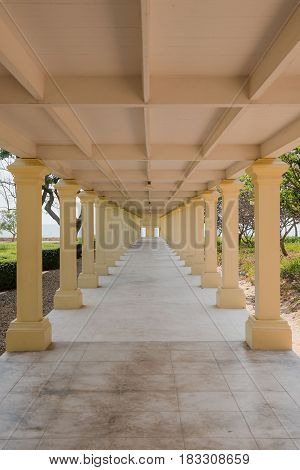 Elevated Walkway in the building of Mrigadayavan Palace, Thailand