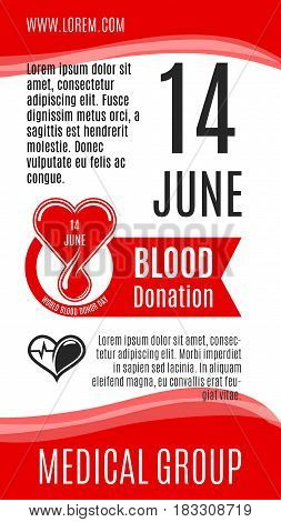 Blood donation vector poster for 14 June social volunteer charity event of World Donor Day. Design of blood and heart, helping hands for donorship medical group or donor center hospital