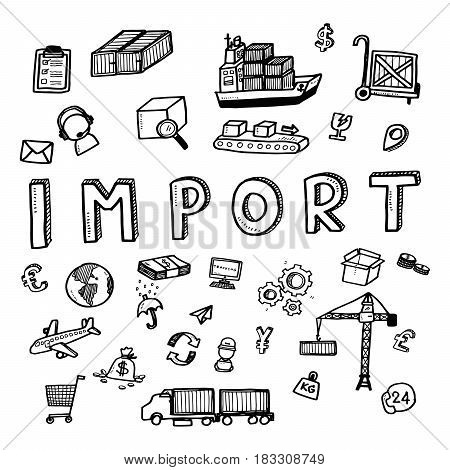 Hand Draw Import Business Doodles Icon Set For Global Transportation Import,export And Logistic Busi