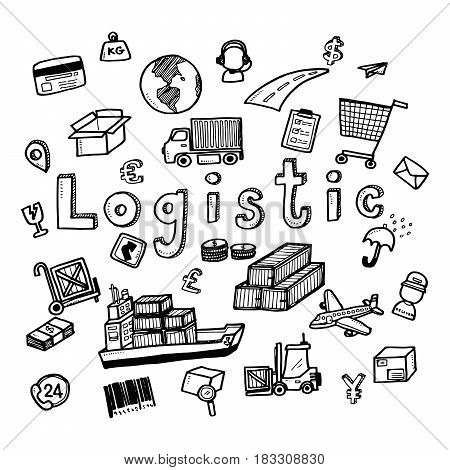 Hand Draw Logistic Business Doodles Icon Set For Global Transportation Import,export And Logistic Bu