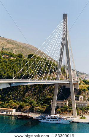 Modern Franzo Tudjman's cable-stayed bridge in Dubrovnik, Croatia.
