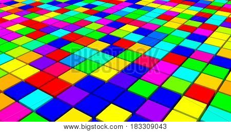 3D rendered closeup multicolor spatial cubes.