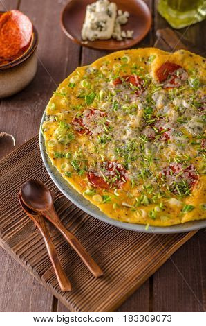 Salami Blue Cheese Omelette