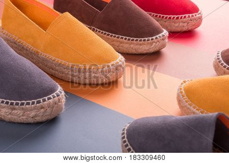 Loafers On Multicolor Background. Close Up. Espadrilles.