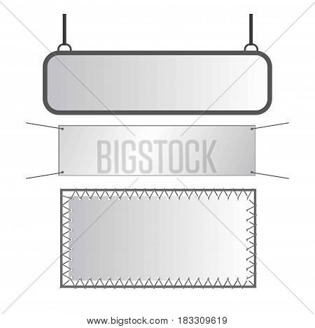 Vector illustration of gray shiny metal signs isolated on white.